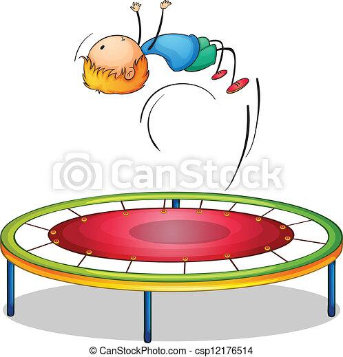 A boy playing trampoline - csp12176514