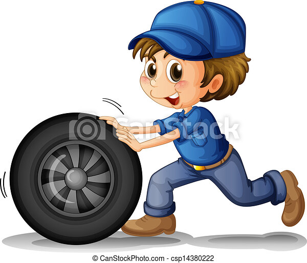 A boy pushing a wheel - csp14380222