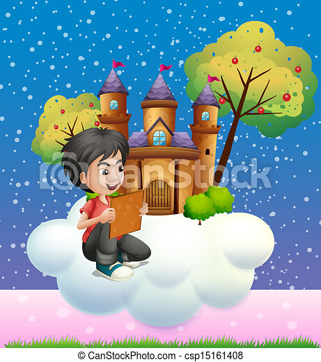A boy reading a book in front of the floating castle - csp15161408