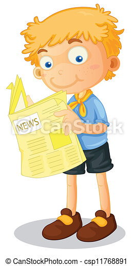 a boy reading news - csp11768891