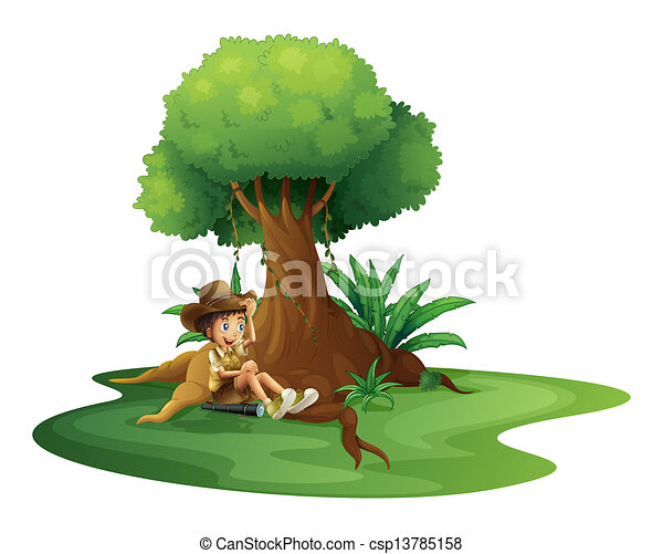 A boy resting under the tree - csp13785158