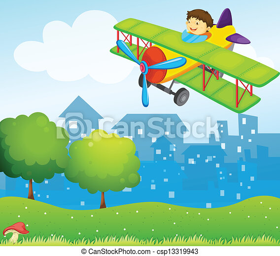 A boy riding in a plane above the hill - csp13319943