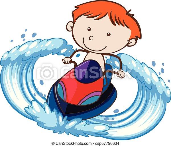 A Boy Riding Jetski on White Background - csp57796634