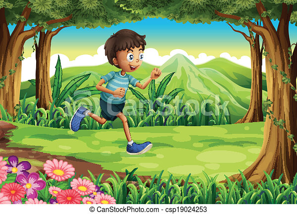 illustration of a boy running at the jungle clipart vector search rh canstockphoto com jungle clipart free jungle clip art images