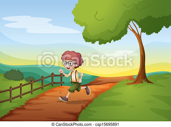 A boy running hurriedly at the farm - csp15695891