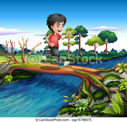 A boy running while crossing the river - csp15798975