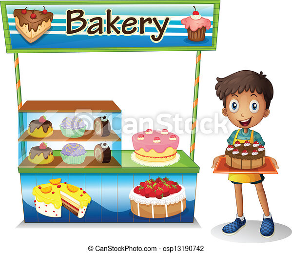 A boy selling cakes - csp13190742