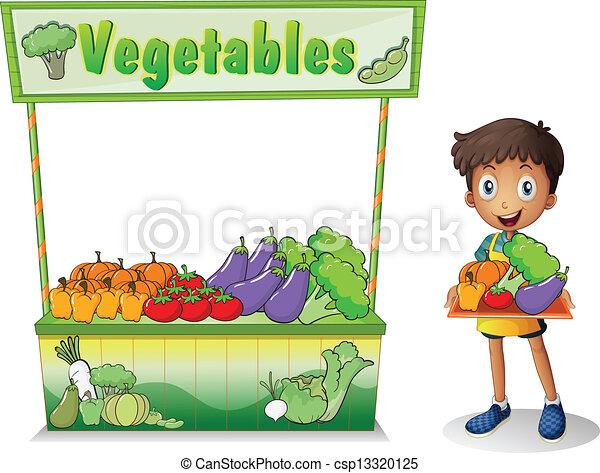 A boy selling vegetables - csp13320125