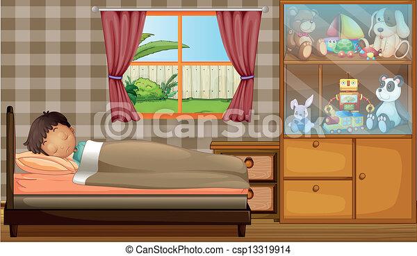 A boy sleeping in his bedroom - csp13319914