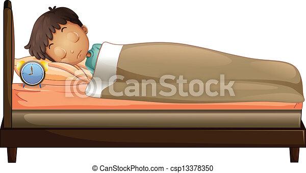 A boy sleeping with an alarm clock - csp13378350