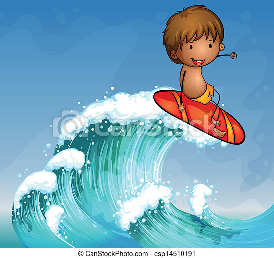 A boy surfing in the waves - csp14510191
