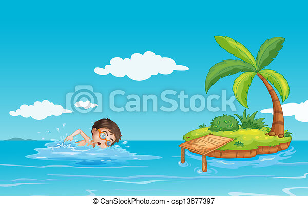 A boy swimming at the beach - csp13877397