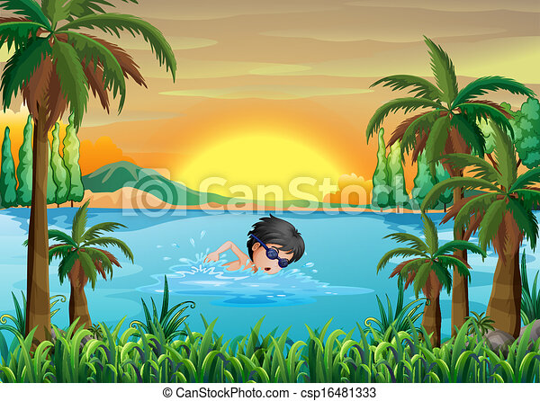 A boy swimming at the lake - csp16481333