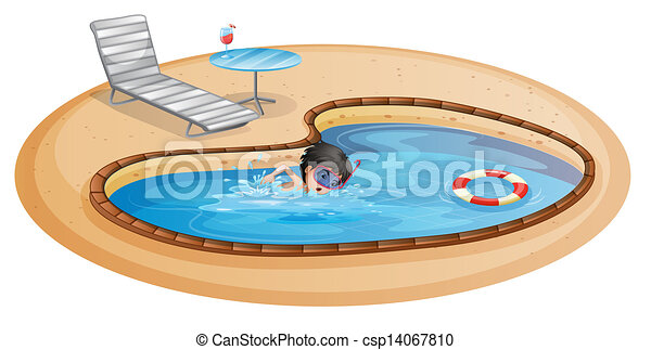 A Boy Swimming At The Pool With Beach Chair And Table Vector