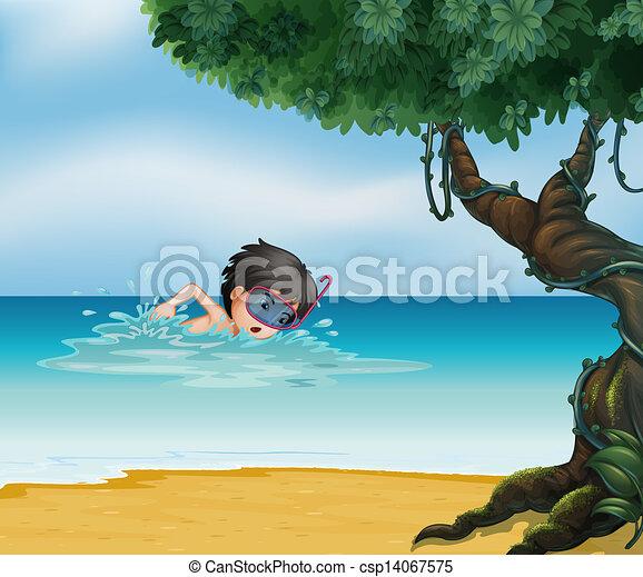 A boy swimming near an old tree - csp14067575