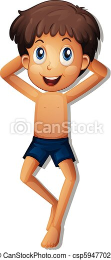 a boy tanning on white background - csp59477027