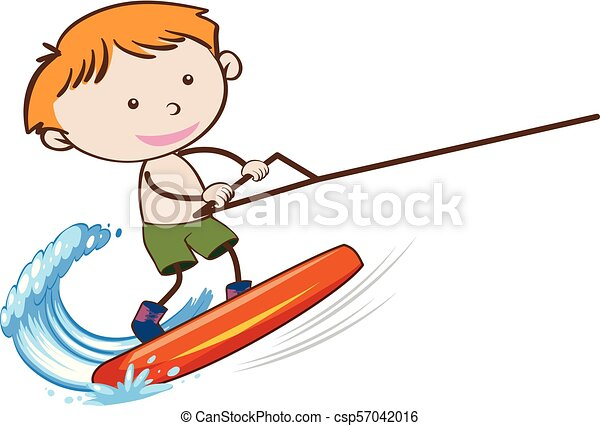 A Boy Wakeboarding on White Background - csp57042016