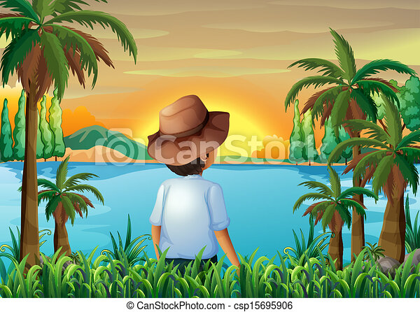 A Boy Watching The Beauty Of Nature Vector