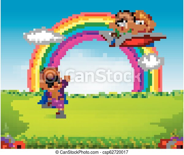 a boy wearing superhero costume with kids flying on the big open book - csp62720017