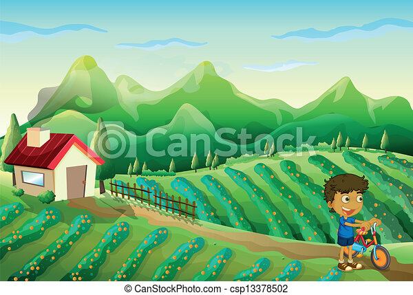 A boy with a bike at the farm  - csp13378502