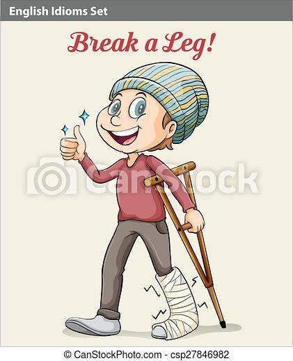 A boy with a broken leg - csp27846982