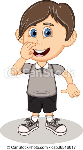 A boy with a gray shirt and black - csp36516017