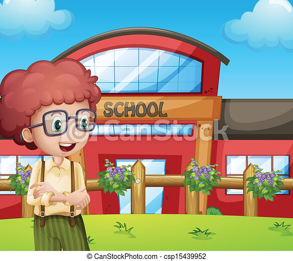 a boy with a school building at his back illustration of a boy with rh canstockphoto com clipart schoolhouse clipart of a school bus