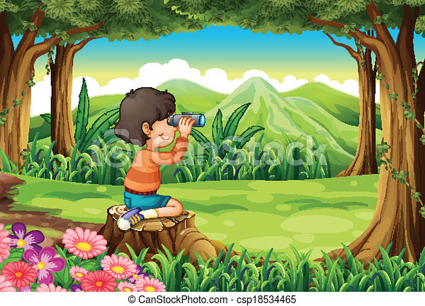 A boy with a telescope sitting above the stump at the forest - csp18534465