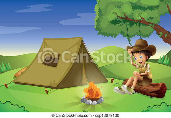 A boy with a tent and a camp fire - csp13079130