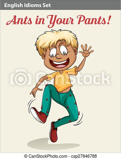 A boy with ants in his pants - csp27846788