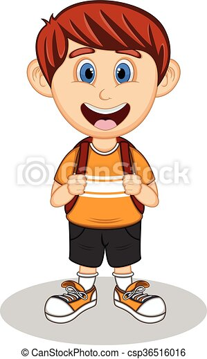 A boy with backpack cartoon - csp36516016