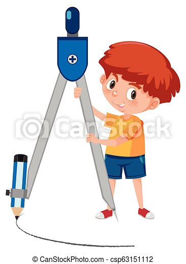 A boy with compasses - csp63151112