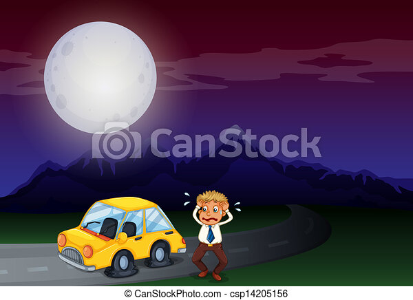 A boy with his car in flat tires - csp14205156