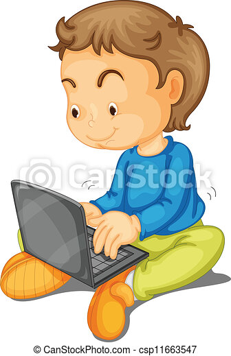a boy with laptop - csp11663547