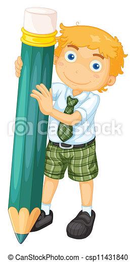 a boy with pencil - csp11431840