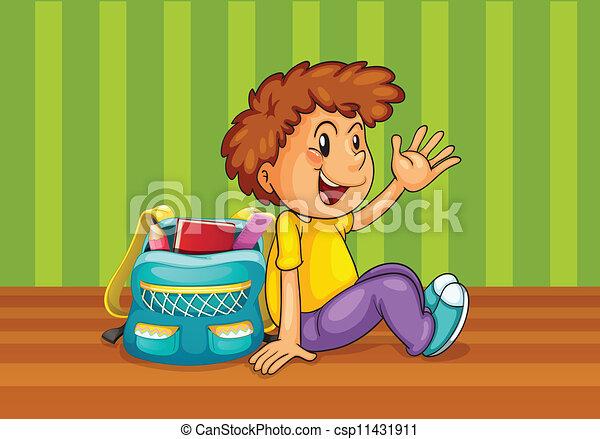 a boy with school bag - csp11431911