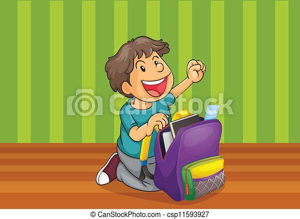 a boy with schoolbag - csp11593927