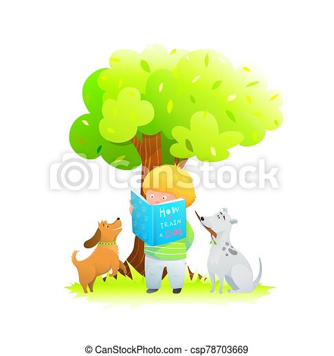A boy with two puppies in a dog park under oak tree reading a book on how to train a dog. - csp78703669