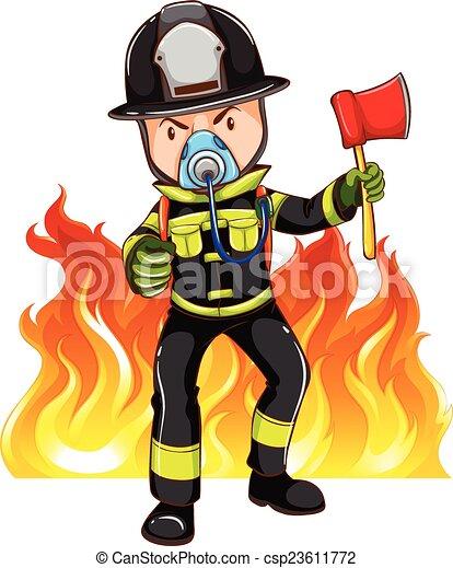 A brave fireman - csp23611772