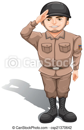 A brave soldier doing a hand salute - csp21370642