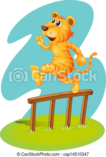 A brave tiger jumping over the wooden fence - csp14510347