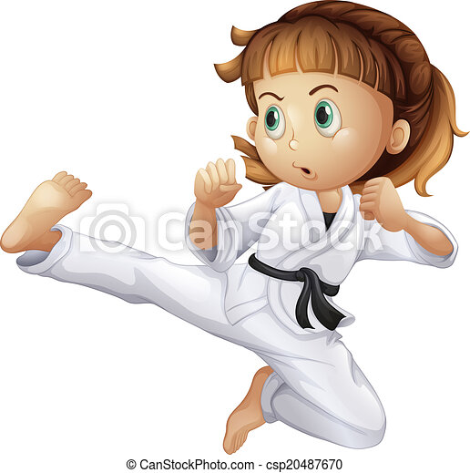 A brave young girl doing karate - csp20487670