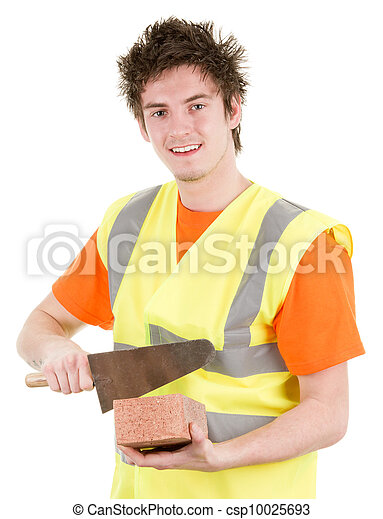 A brick layer with a brick - csp10025693