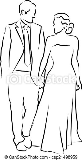 A bride and groom on their wedding  - csp21498959