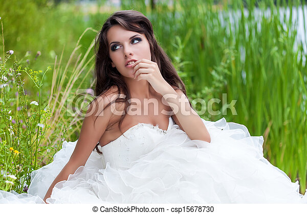 A bride in the field - csp15678730