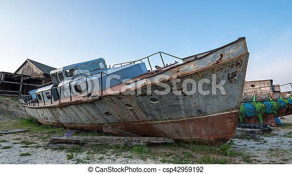 a broken iron boat - csp42959192