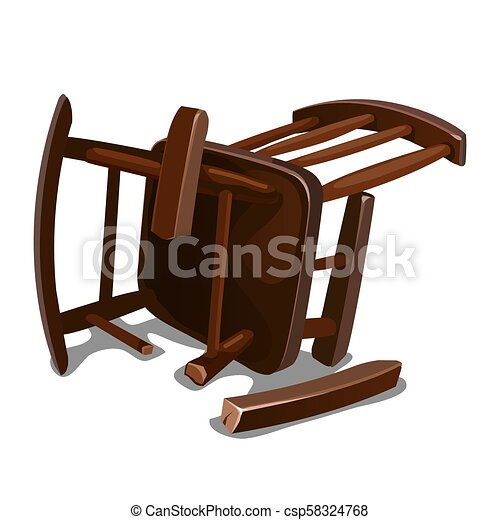 Cool A Broken Old Wooden Rocking Chair Isolated On White Background Vector Cartoon Close Up Illustration Machost Co Dining Chair Design Ideas Machostcouk