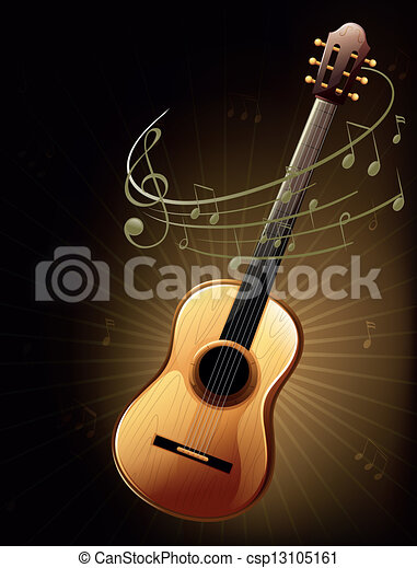 A Brown Guitar With Musical Notes Illustration Of A Brown Guitar