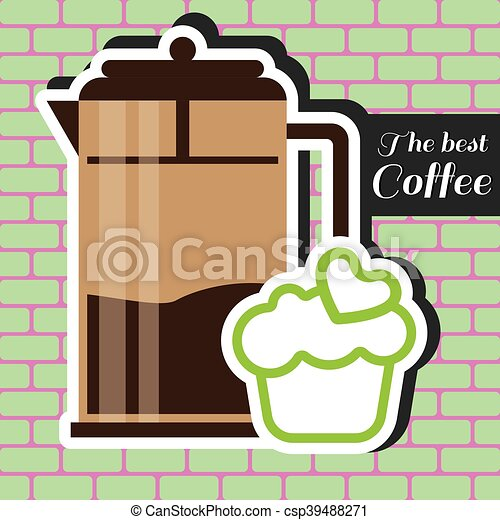 A brown jar of coffee with a green - csp39488271
