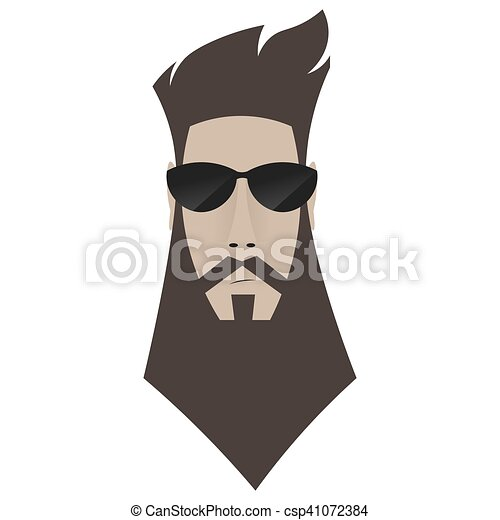 A brutal man. Hipster in dark glasses, - csp41072384